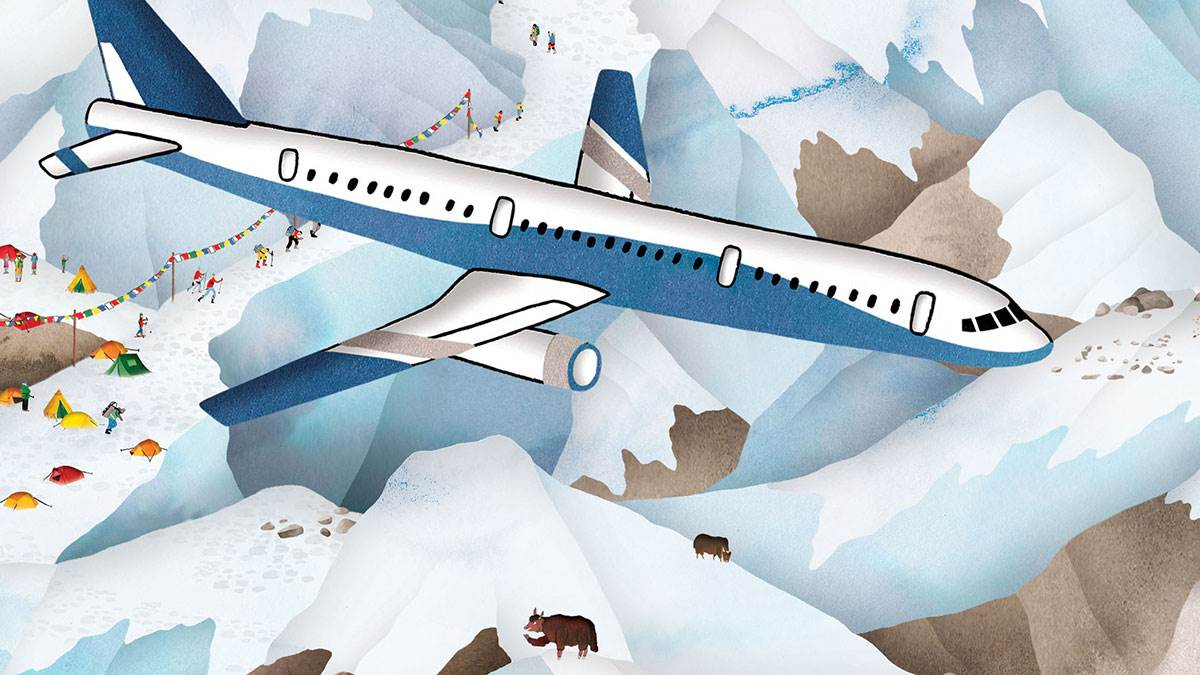 Lucy Letherland's illustration of Mount Everest from Atlas of Adventures: Wonders of the World