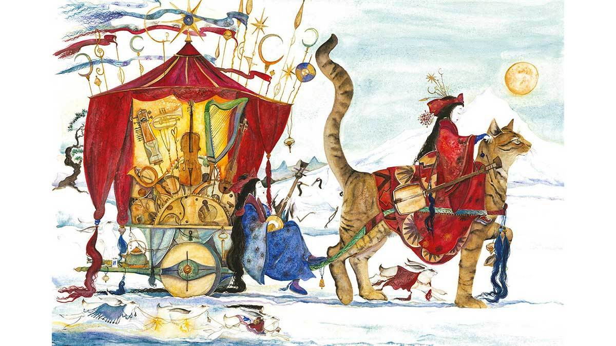 Jackie Morris's illustration from The Music of Gently Falling Snow