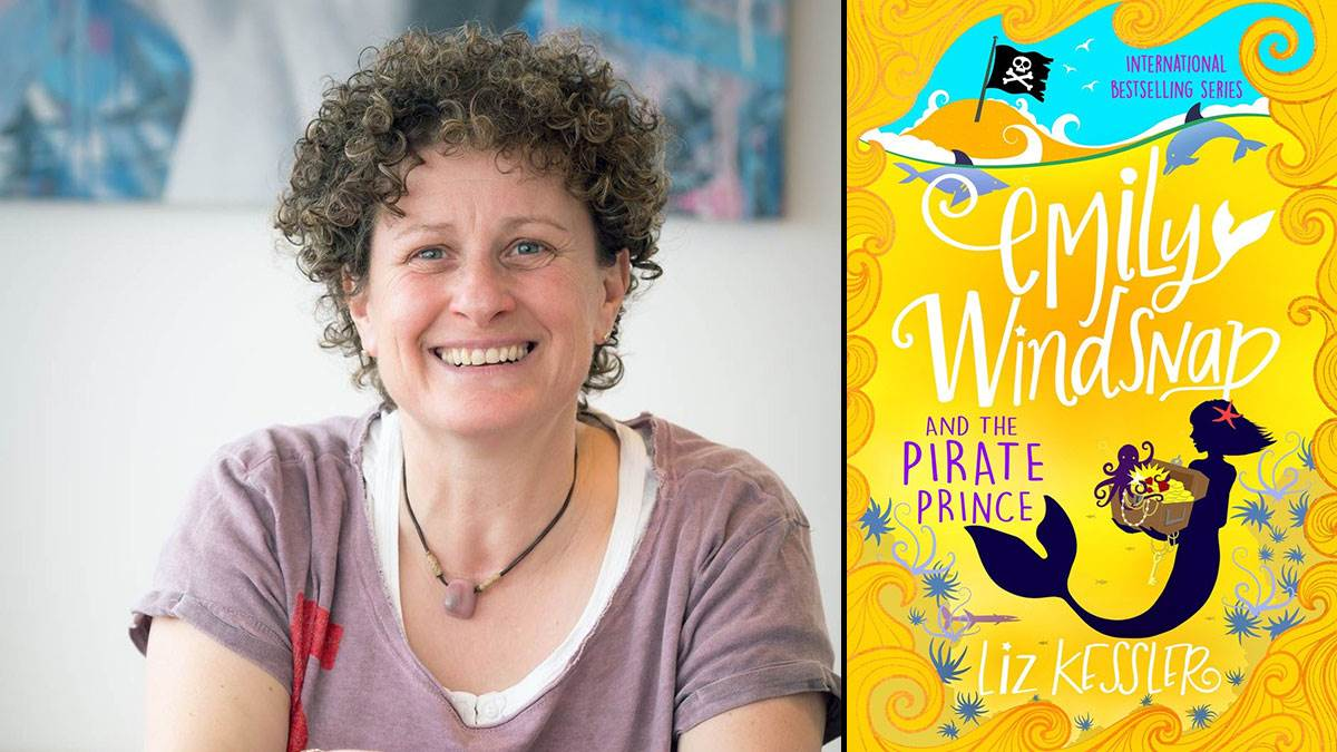 Liz Kessler and the cover of her book Emily Windsnap and the Pirate Prince
