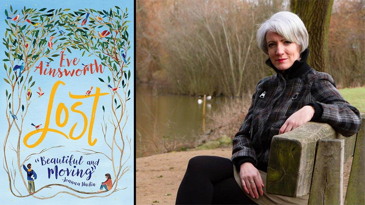 The front cover of Lost and a photo of author Eve Ainsworth