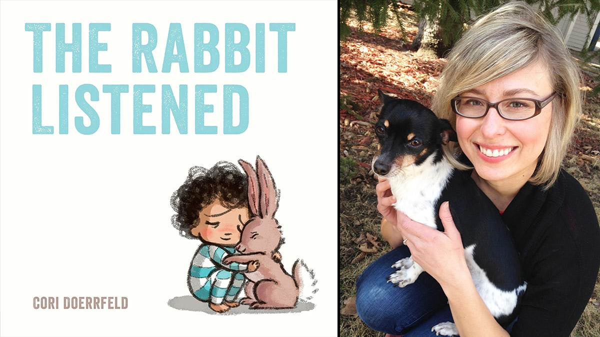 The front cover of The Rabbit Listened and a photo of author Cori Doerrfeld