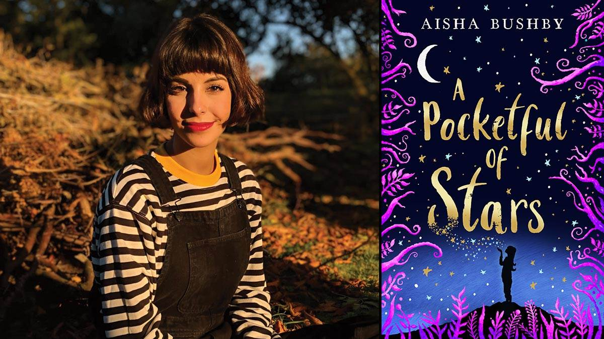 Aisha Bushby and the front cover of A Pocketful of Stars