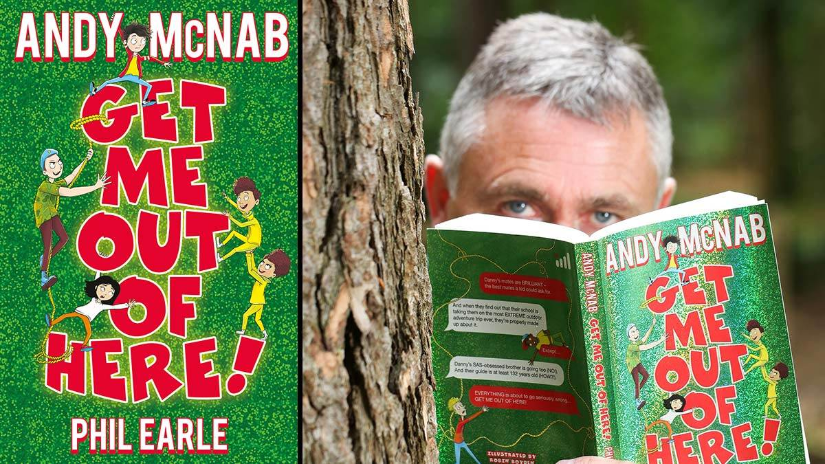 The front cover of Get Me Out of Here and author Andy McNab