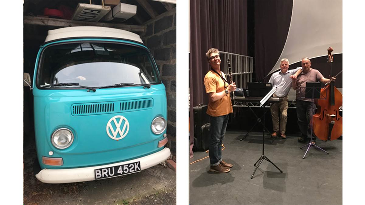 The VW camper van and musicians taking part