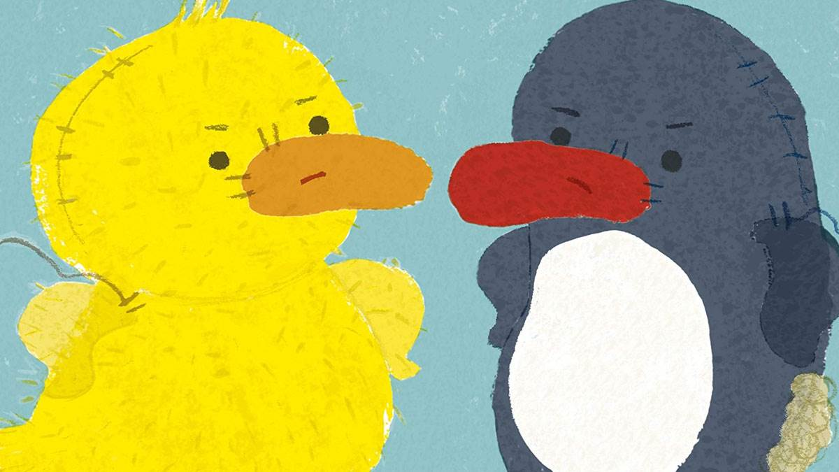 Illustration from Duck and Penguin are NOT Friends by Julia Woolf