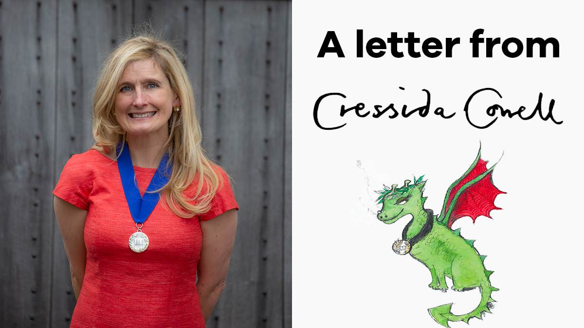 A photograph of Cressida Cowell, an illustration of a dragon and her signature