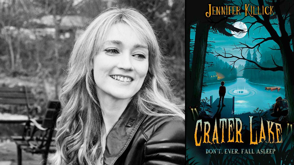 Jennifer Killick and the front cover of her book Crater Lake