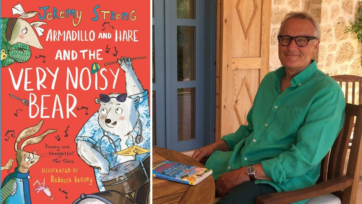 Jeremy Strong and the cover of his book, Armadillo and Hare and the Very Noisy Bear