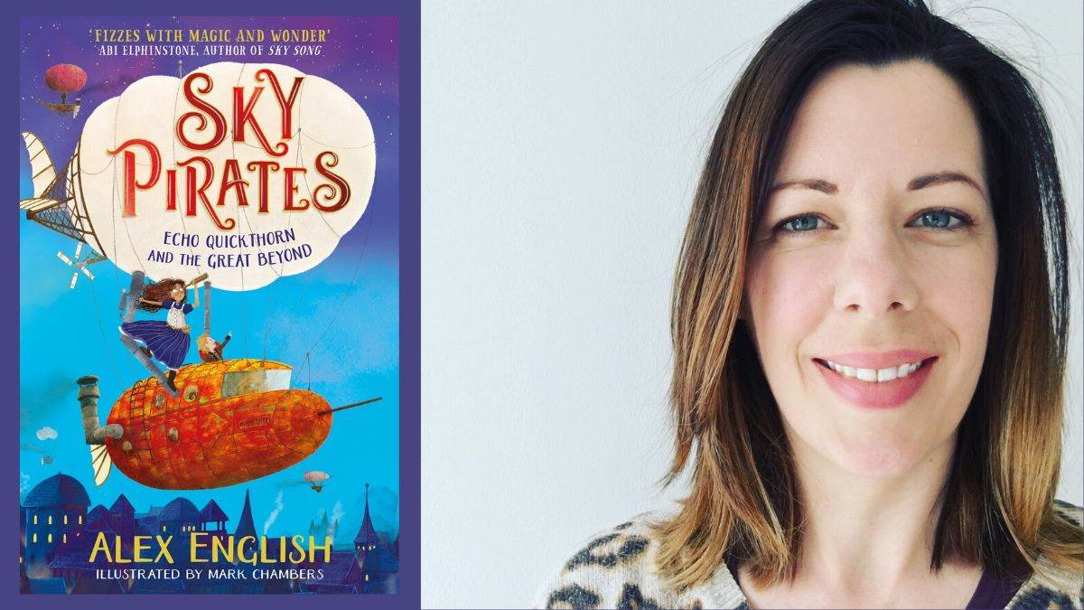 Author Alex English and the cover of Sky Pirates, illustrated by Mark Chambers