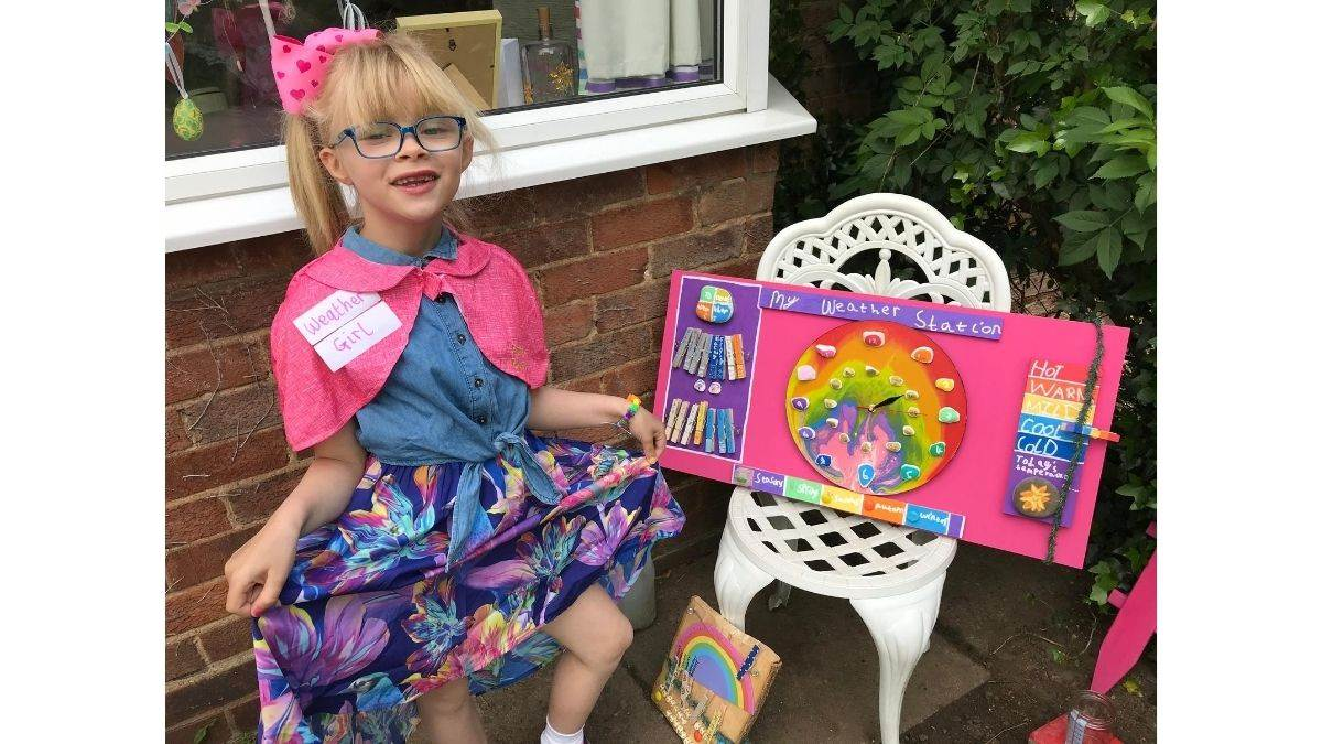 Drawing Diary winner Lottie Brown shows off her weather station
