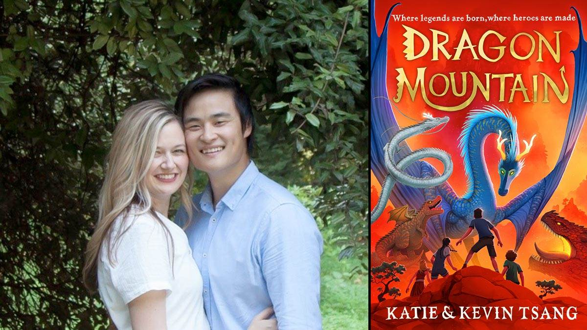 A photograph of Katie and Kevin Tsang and the front cover of their book Dragon Mountain