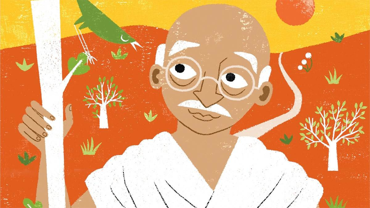 The front cover of The Extraordinary Life of Mahatma Gandhi