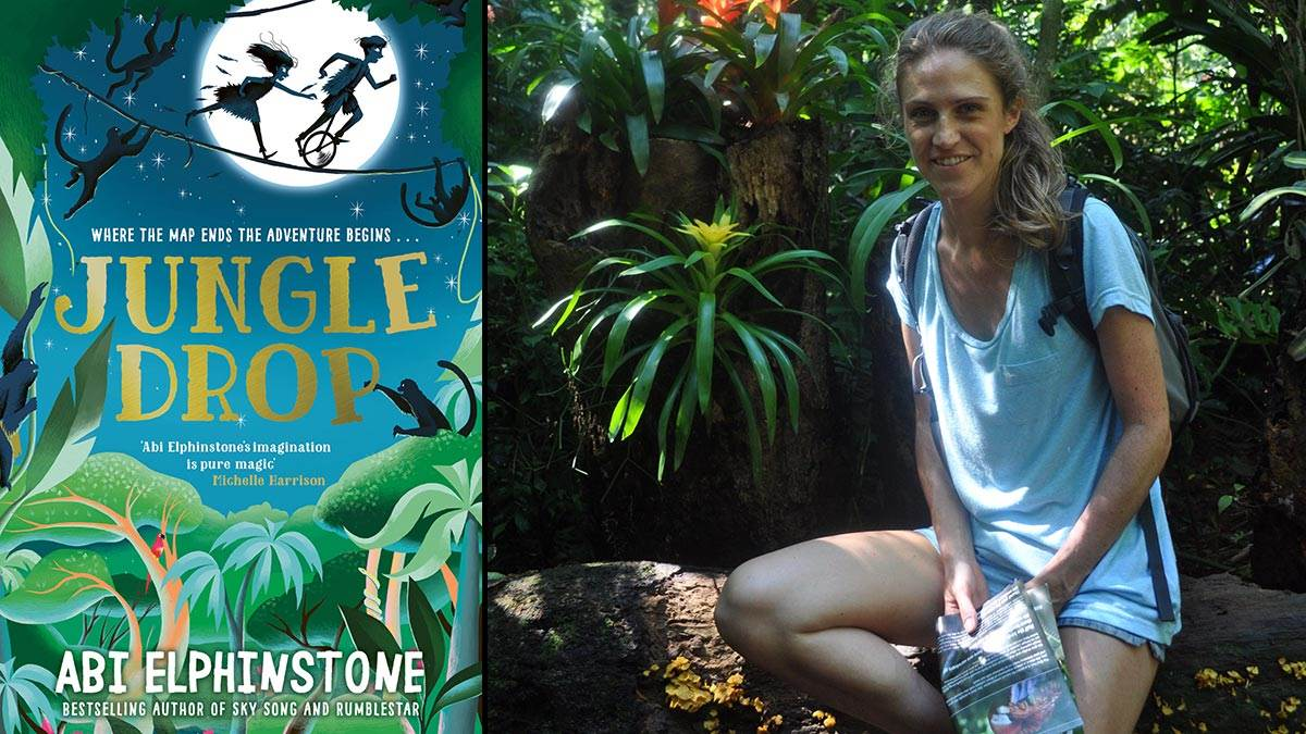 The front cover of Jungle Drop and a photograph of author Abi Elphinstone in the jungle