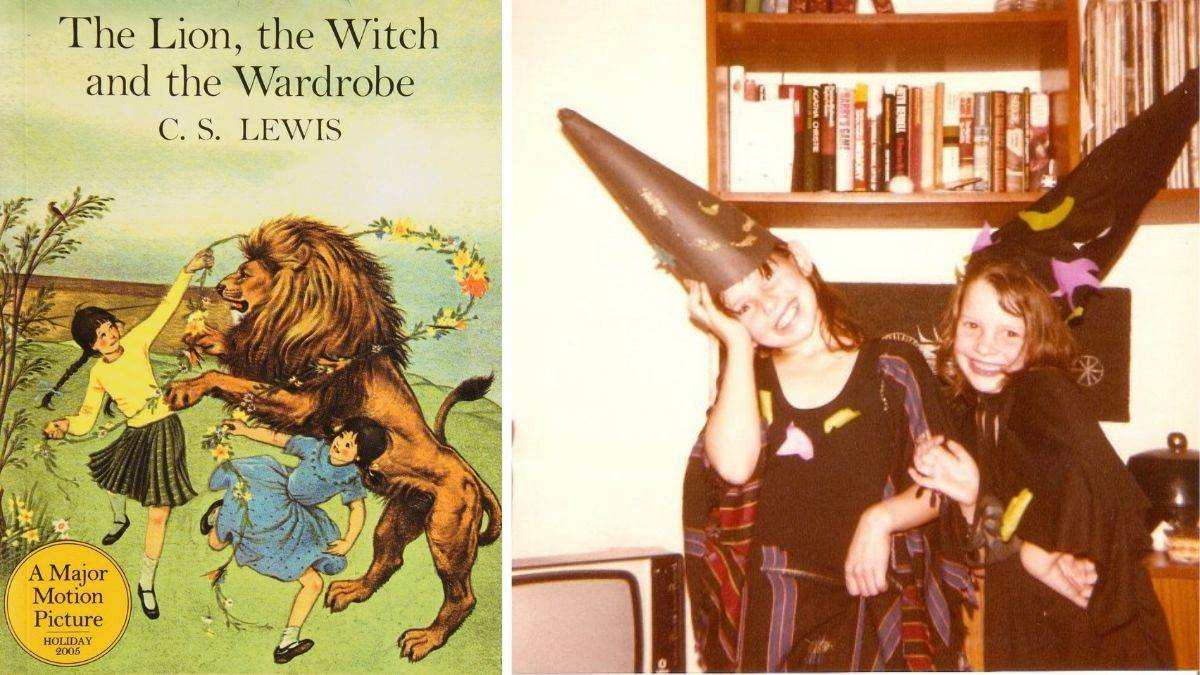 Eloise Williams as a child and the cover of The Lion, The Witch and The Wardrobe
