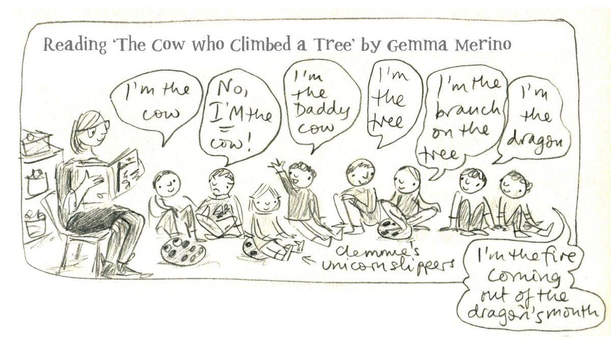 A page from Jane Porter's diary showing her reading 'The Cow Who Climbed A Tree'