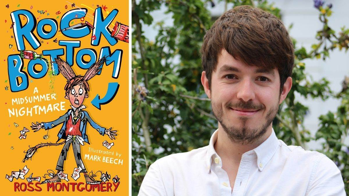 Author Ross Montgomery and the cover of Rock Bottom, illustrated by Mark Beech