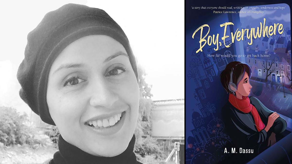 Author A. M. Dassu and the front cover of Boy, Everywhere