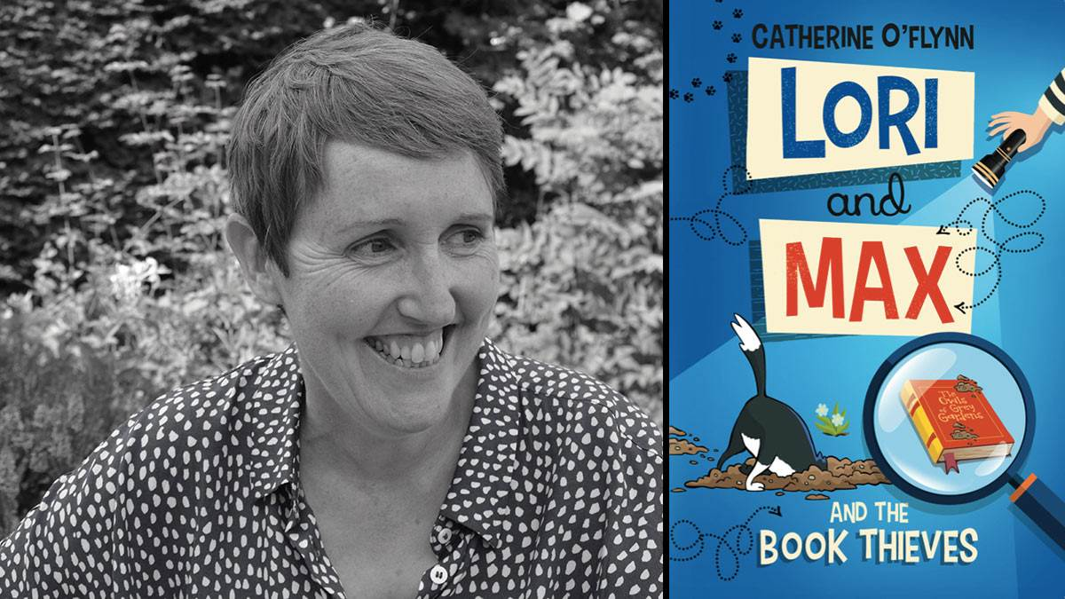 Author Catherine O'Flynn and the front cover of her book Lori and Max and the Book Thieves