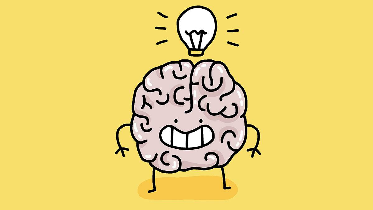 An illustration of a happy brain
