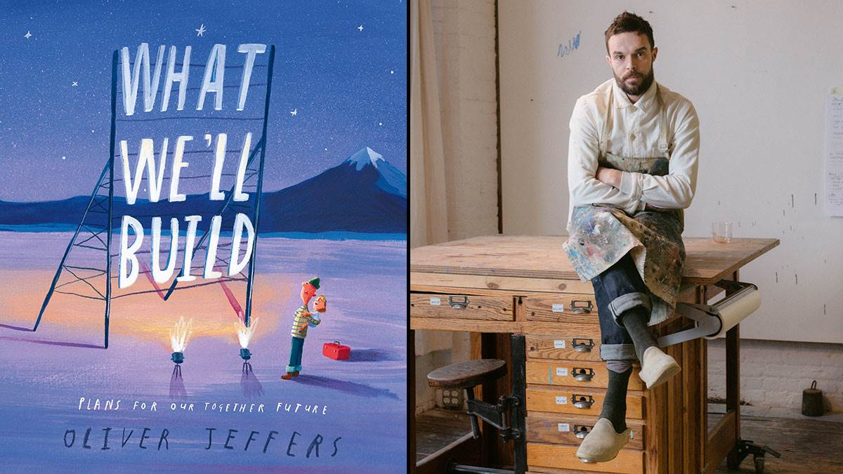 The front cover of What We'll Build and a photograph of author Oliver Jeffers