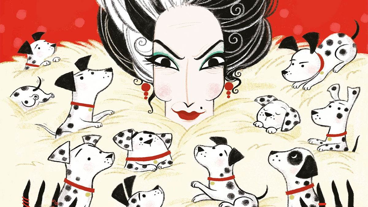 Cruella de Vil on the front cover of The Hundred and One Dalmatians