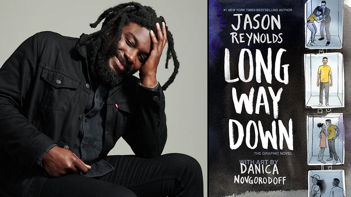 Jason Reynolds and the front cover of the Long Way Down graphic novel