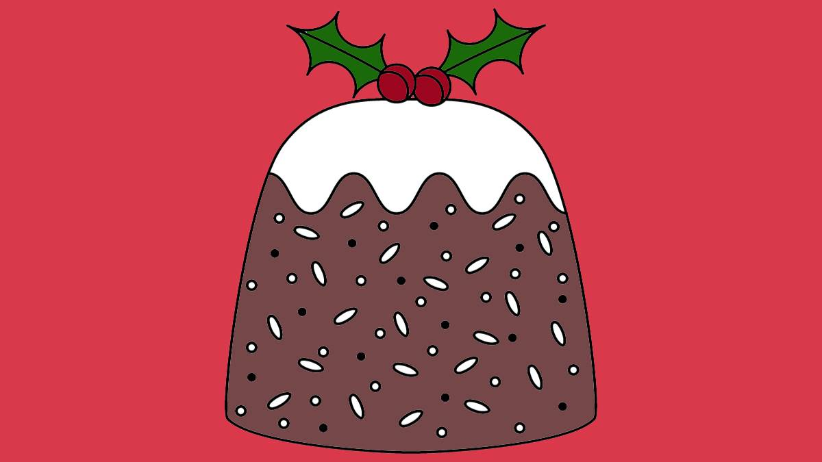 An illustration of a Christmas pudding
