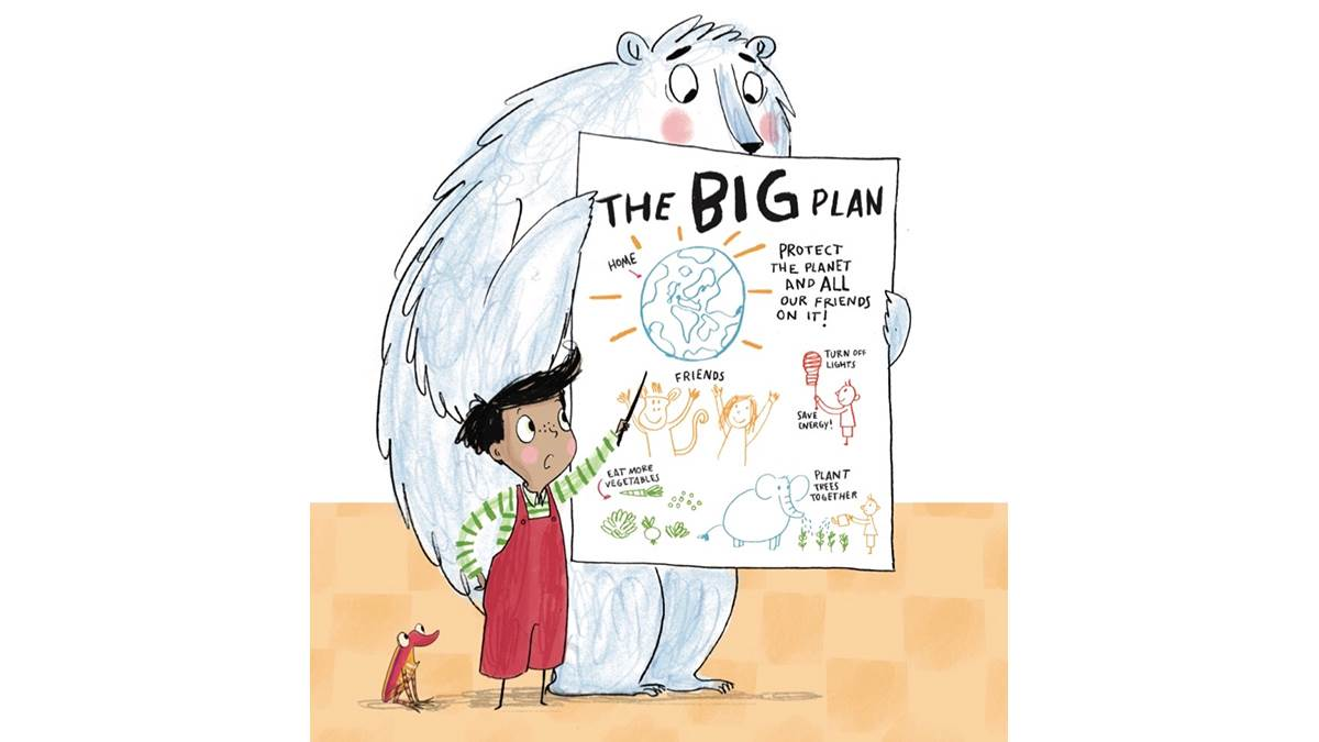 An illustration of Rafi's big plan from Elephant In My Kitchen