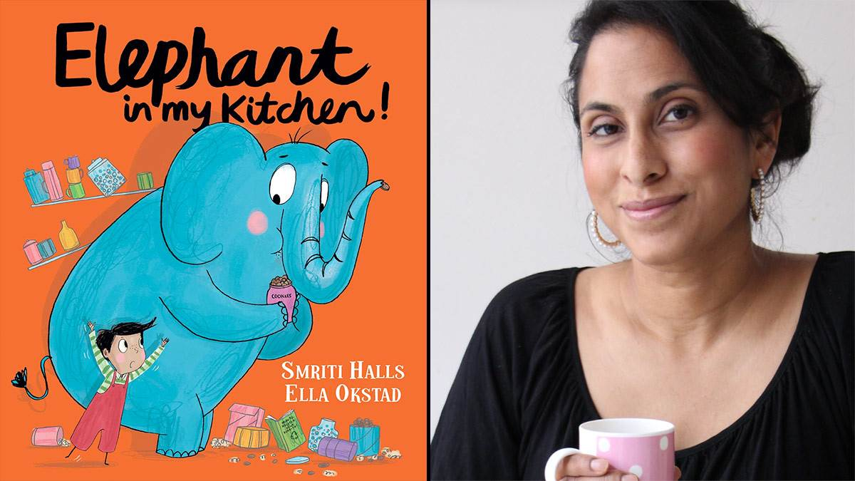 The front cover of Elephant In My Kitchen and a photo of Smriti Halls
