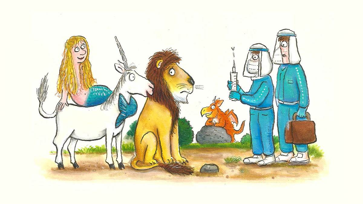 The Flying Doctors giving vaccines to a unicorn, lion and mermaid