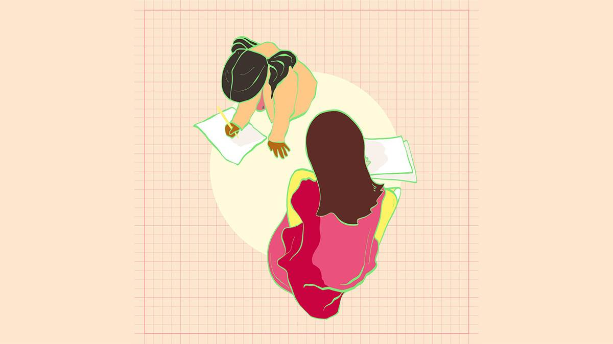 An illustration of two girls drawing