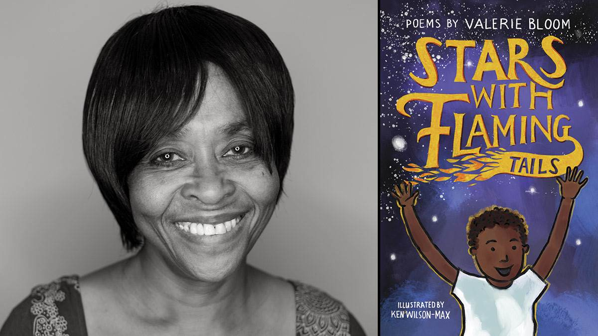Valerie Bloom and the front cover of Stars with Flaming Tails