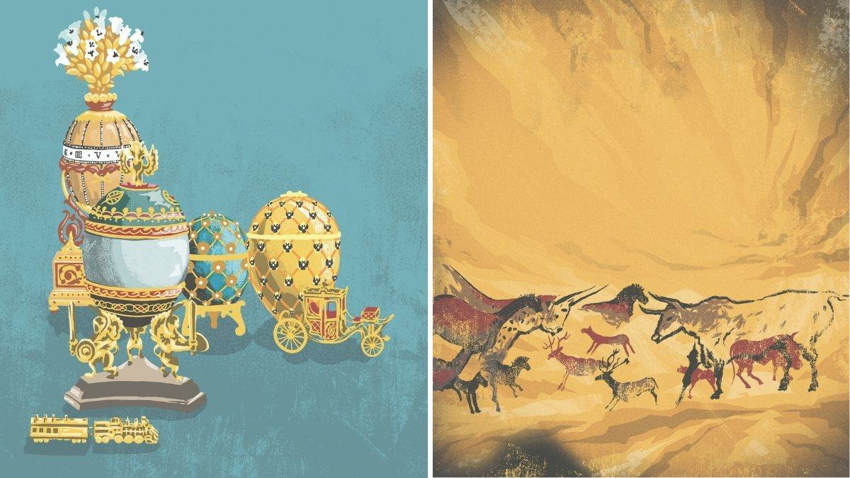 Lascaux cave paintings and Fabergé eggs from Amazing Treasures