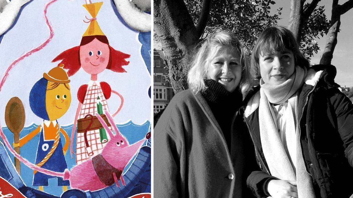 Sally Gardner with illustrator Lydia Corry and two of the Tindims