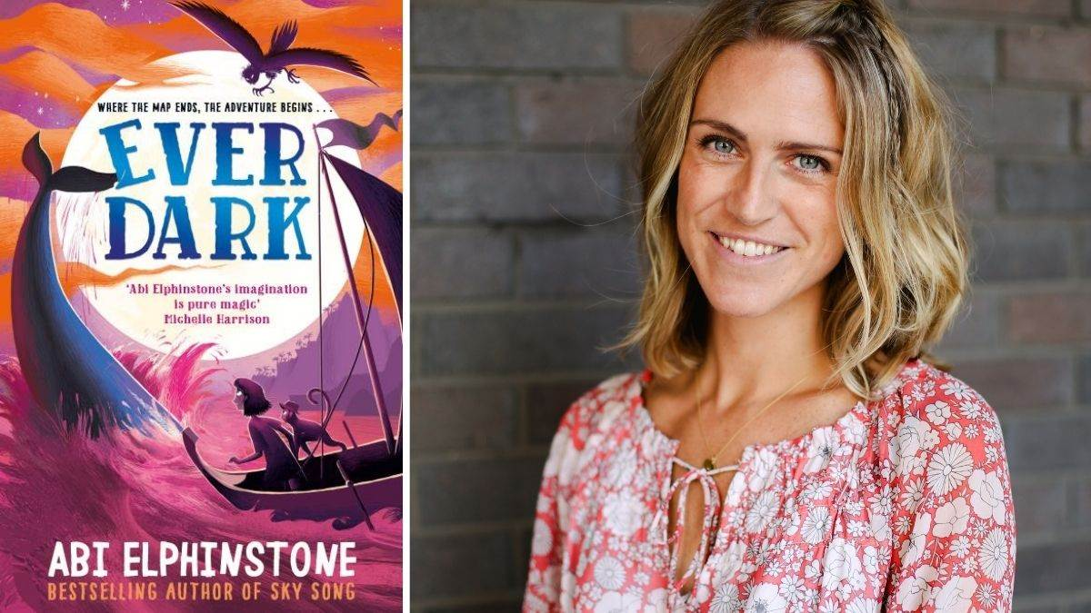 Author Abi Elphinstone and the cover of Everdark