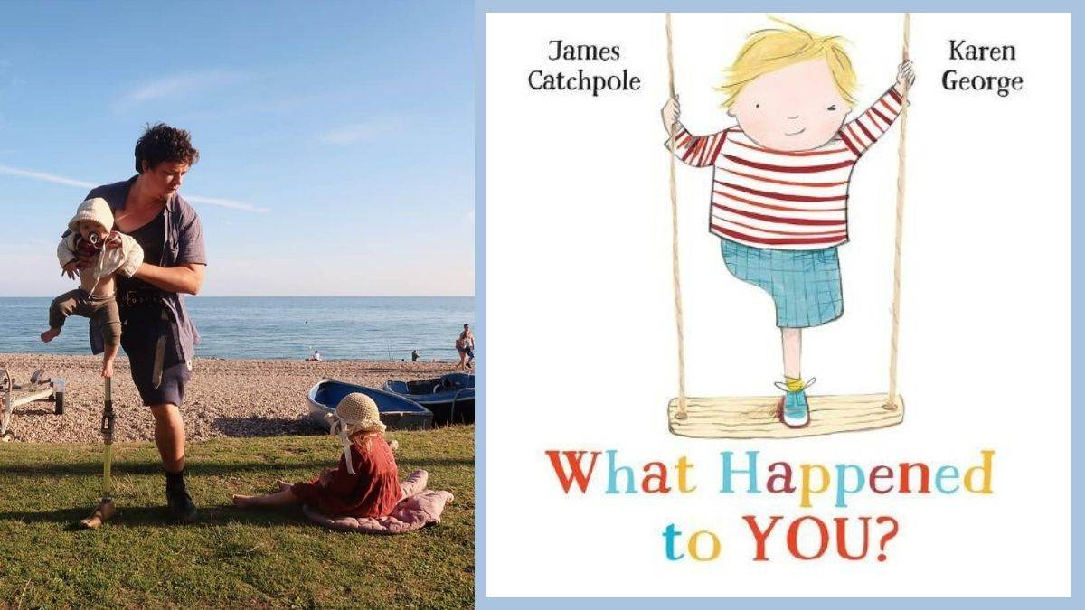 Author James Catchpole with his children and the cover of What Happened To You?