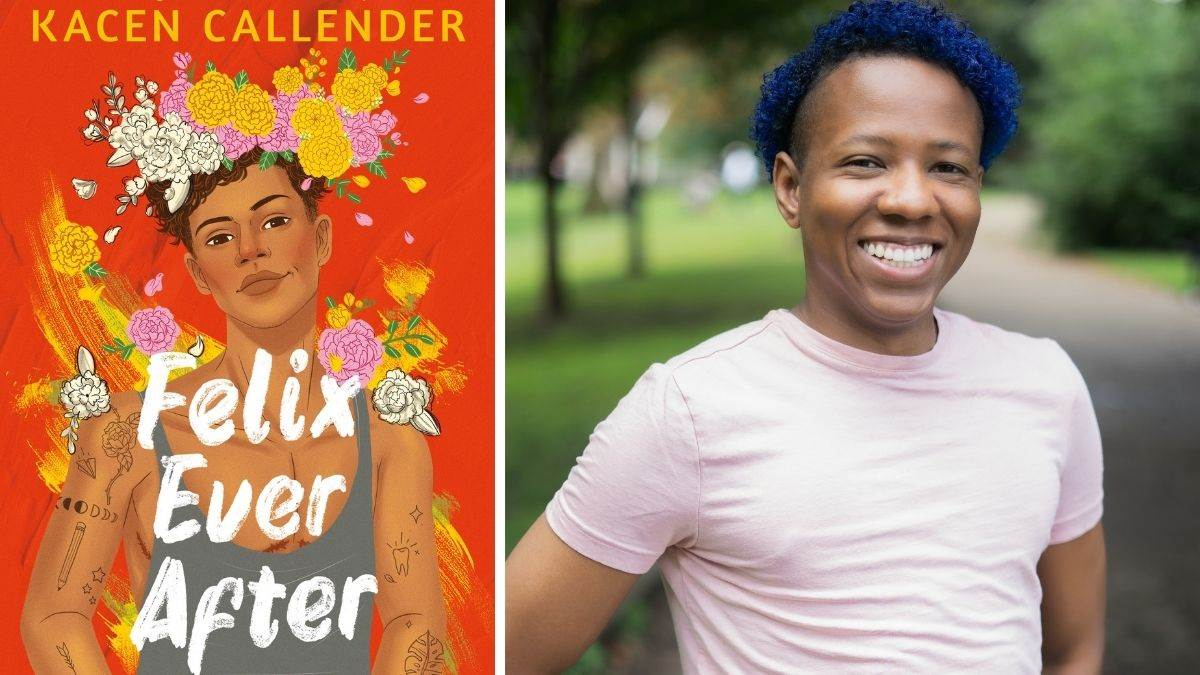 Kacen Callender and the cover of their book, Felix Ever After