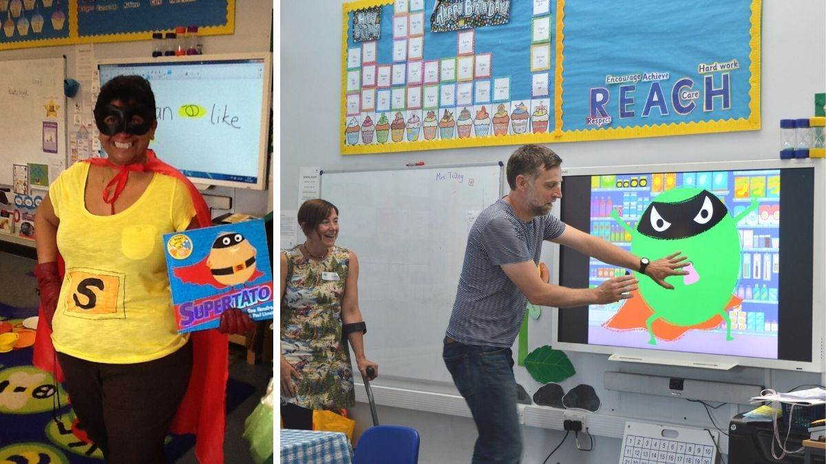 Authors Sue Hendra and Paul Linnet at a Supertato-themed day