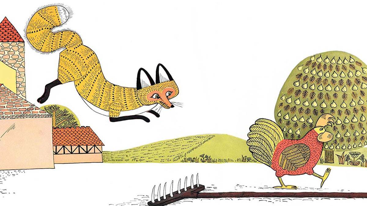 An illustration from Rosie's Walk - a fox pouncing on a chicken