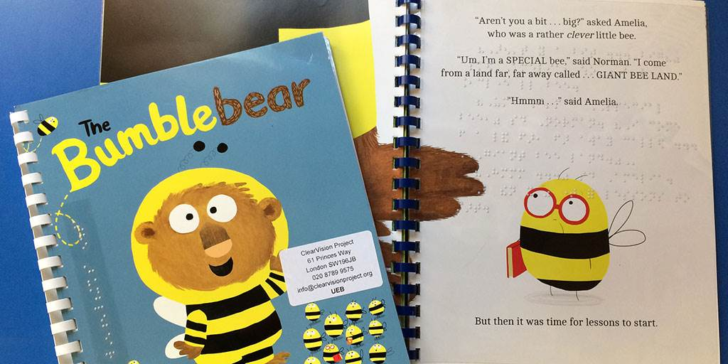The cover of ClearVision's Braille adaptation of The Bumblebear by Nadia Shireen