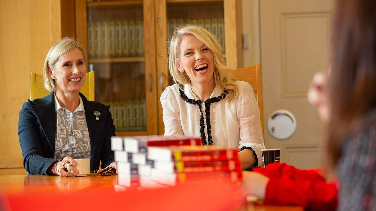 Children's Laureates Lauren Child and Sarah Crossan take questions from young readers at an event in Derry