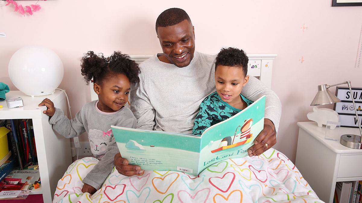 A family reading a bedtime story together
