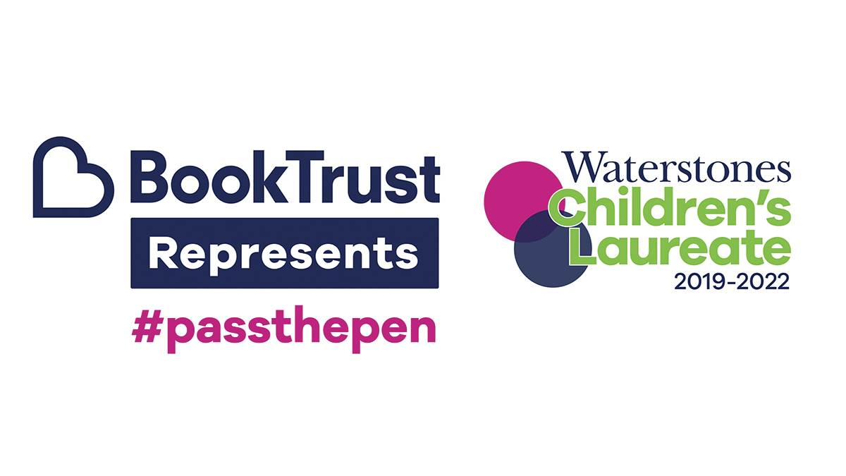 The logos for BookTrust Represents and Waterstones Children's Laureate plus the #PassThePen hashtag