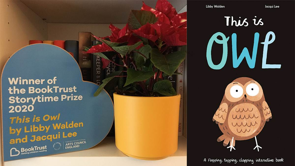 The Storytime Prize trophy and the front cover of This Is Owl
