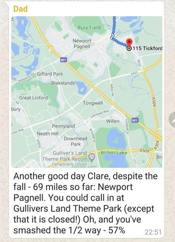 Clare's dad helped her with her challenge by mapping her route.