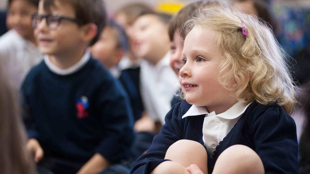 Reception children in classroom