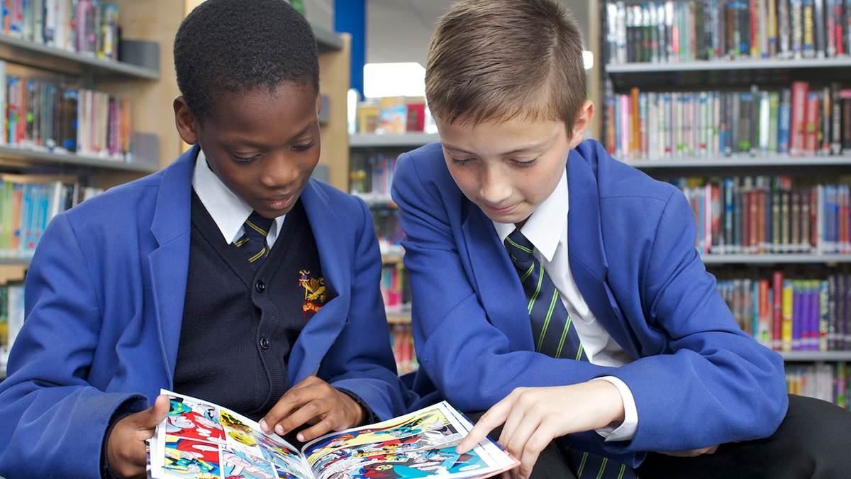boys in school library