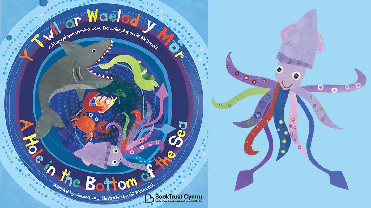 Welsh cover of A Hole in the Bottom of the Sea and squid illustration