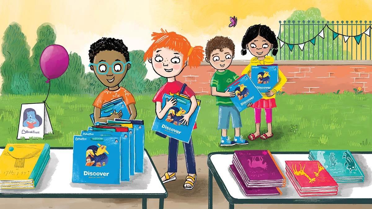 An illustration of children picking up BookTrust parcels