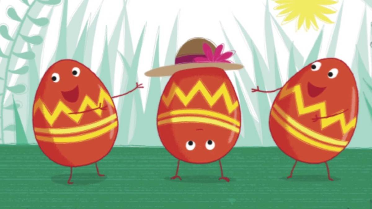 An illustration of three eggs from Egg by Sue Hendra and Paul Linnet